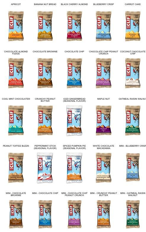 yum chart of vegan friendly flavors of clif bars train