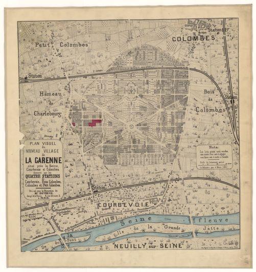 XIXe sicle Plan visuel du nouveau village de La Garenne situ