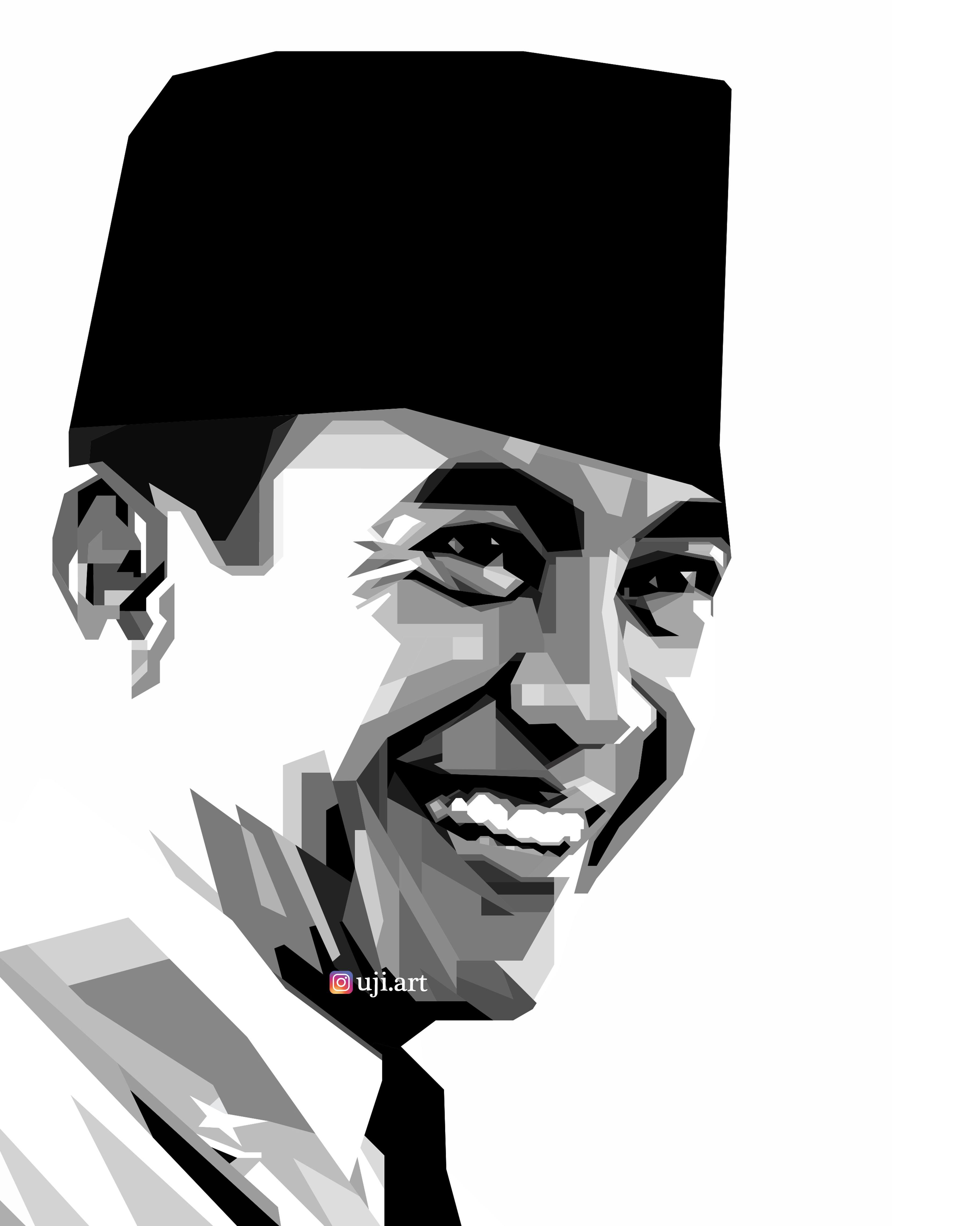 Gambar Soekarno Hitam Putih : gambar, soekarno, hitam, putih, Grayscale, Soekarno, First, President, Republic, Indonesia, Tokoh, Sejarah,, Karya