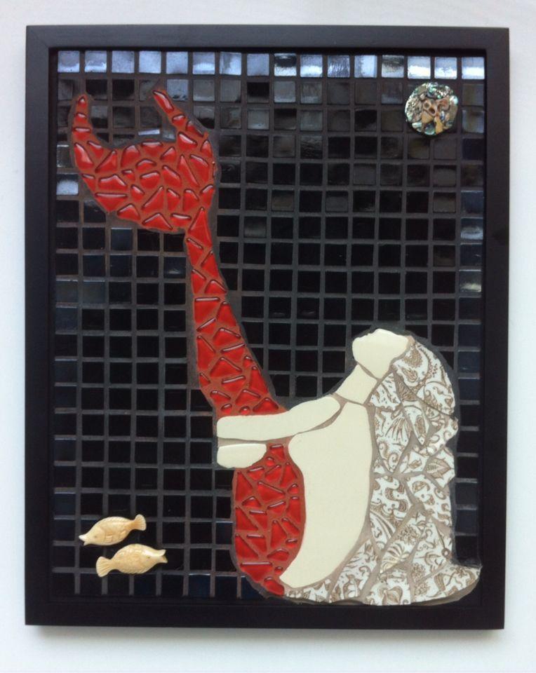 """fisherman's dream"" by Julie Walker featured in Fishy Business Exhibition, December, 2014. Mosaic Mermaid"