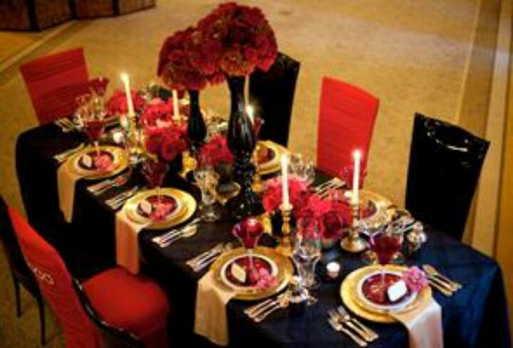 Red black and gold wedding my wedding pinterest wedding and wedding reception ideas and decor red black and gold table decorations junglespirit Image collections