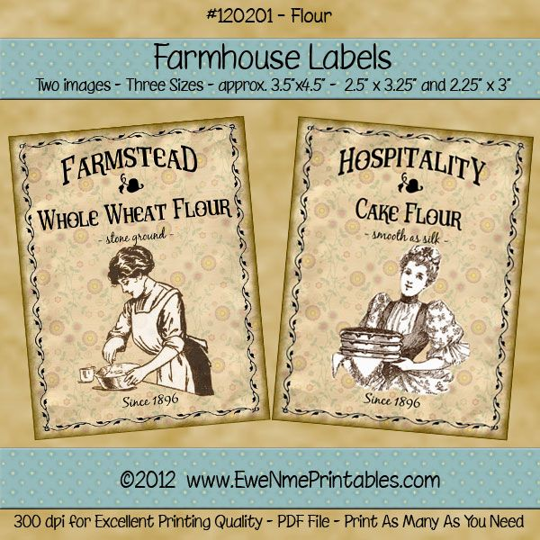 Farmhouse Labels - Flour - pm $2.50