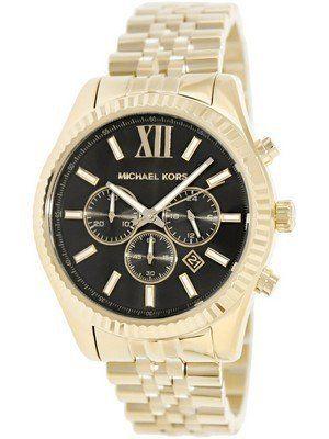 21154c4d926e Michael Kors Lexington Chronograph Black Dial Gold-tone MK8286 Men s Watch