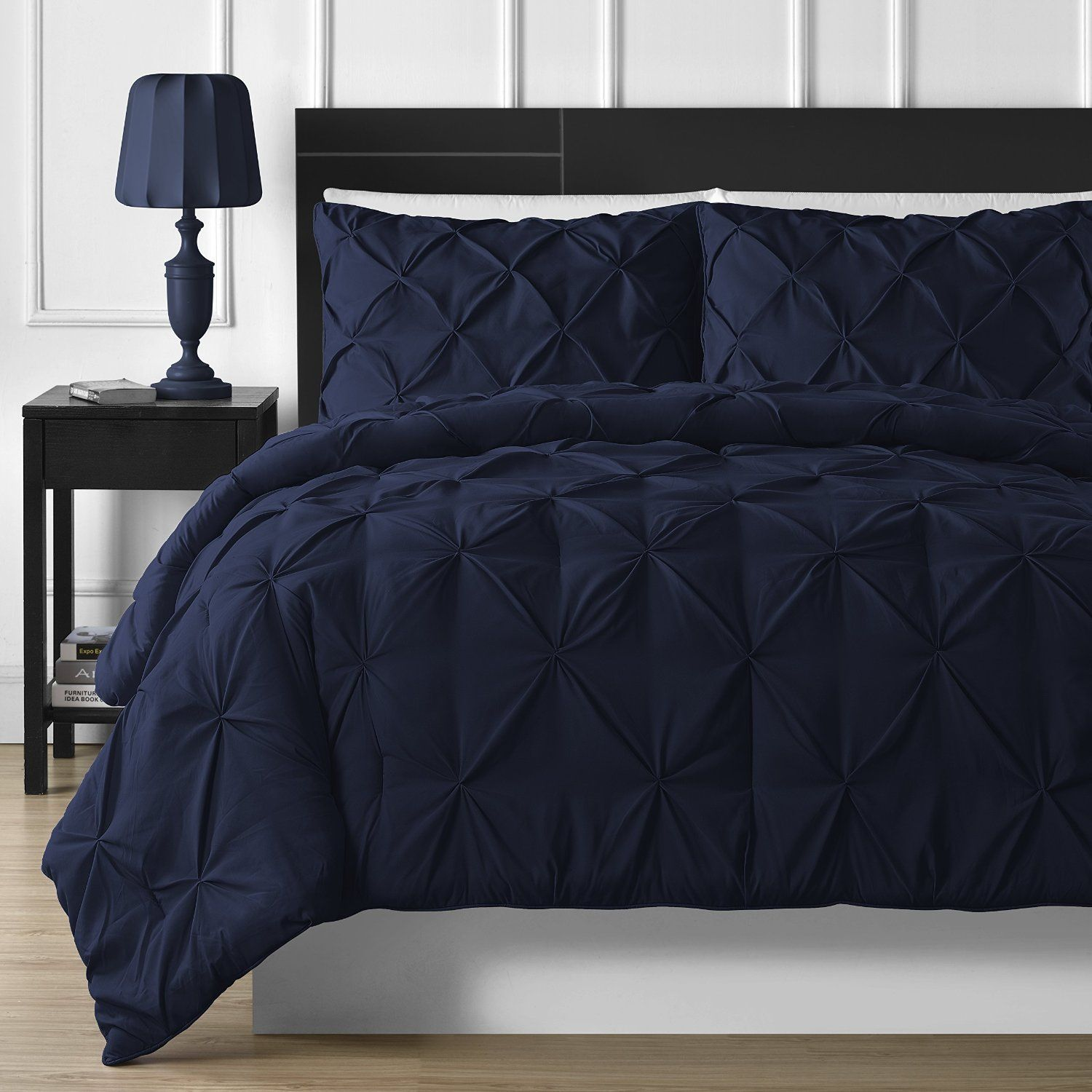 Black and blue bed sheets - P R Bedding 3 Piece Luxurious Pinch Pleat Comforter Set King Navy Blue