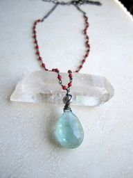 11.5CTW AFGHANI AQUAMARINE, RED CORAL, PEARL, STERLING NECKLACE -- ONE-OF-A-KIND (F903) - Adjustable from about 17