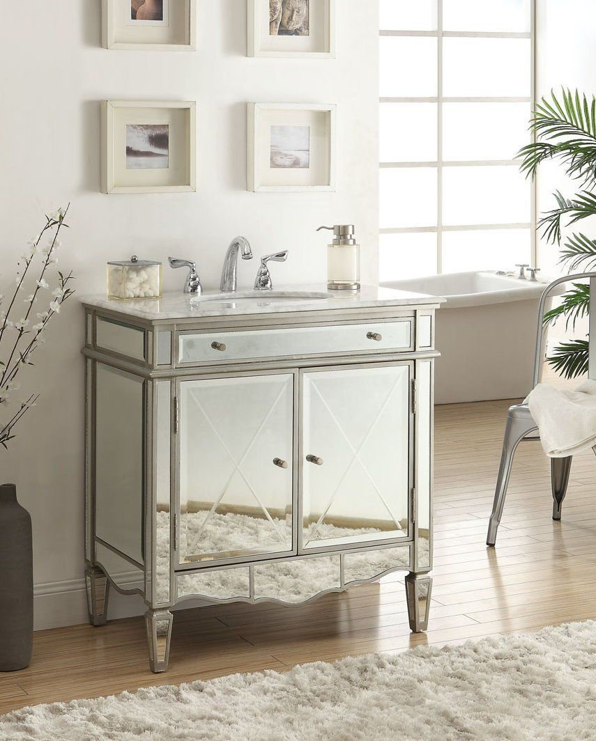 32 inch vanities for bathroom - Adelina 32 Inch Mirrored Bathroom Vanity Add A Touch Of Sophistication To Your Bathroom With