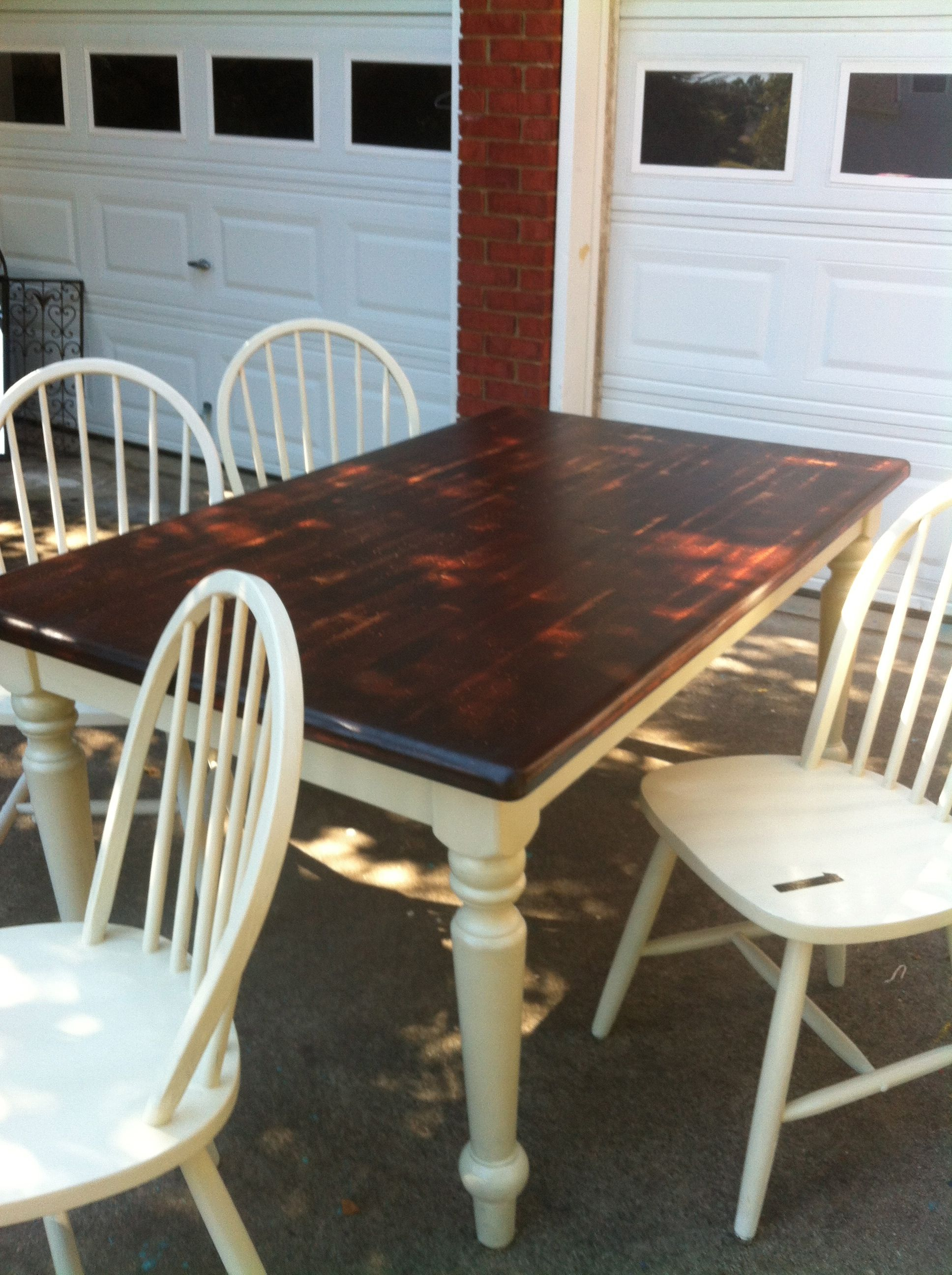 refinished oak table w/mahogany stain top and cream legs | now in