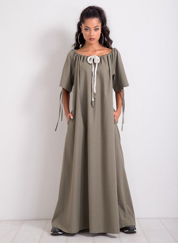 b548aab0695 Linen Kaftan  Linen Maxi Dress  Plus Size Dress  Long Dress  Short Sleeve  Dress  Maxi Kaftan  Casual