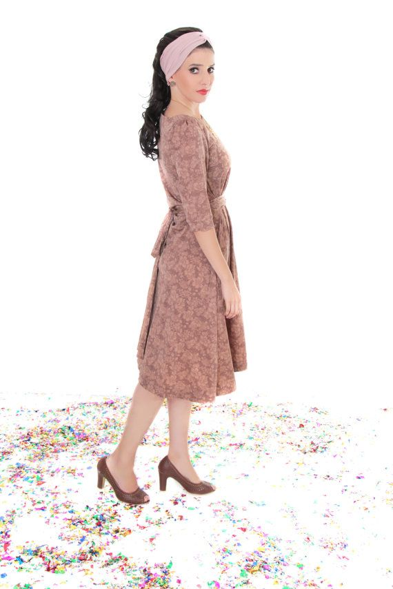6e9c07e33e1f Brown Floral modest midi dress with flower print by TAMAR LANDAU, $110.00 # modest fashion #modest dress #midi dress #floral dress