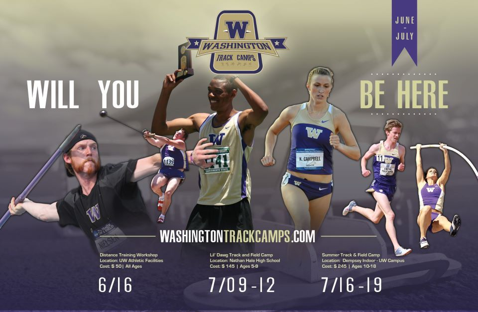 University of Washington track camps poster - Sayenko Design