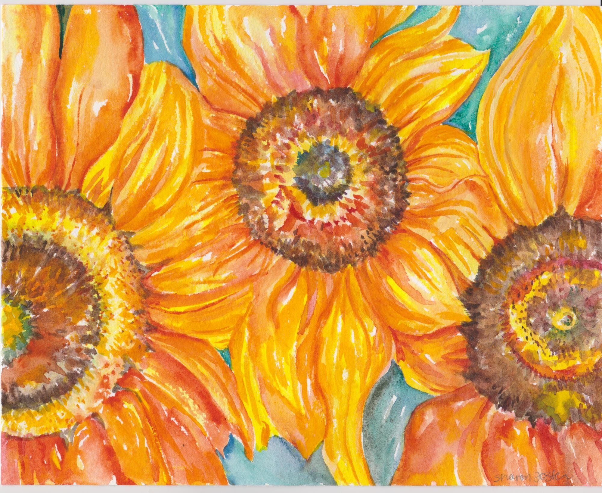 Sunflowers Watercolor Painting Original 8 x 10 Flower Painting ...