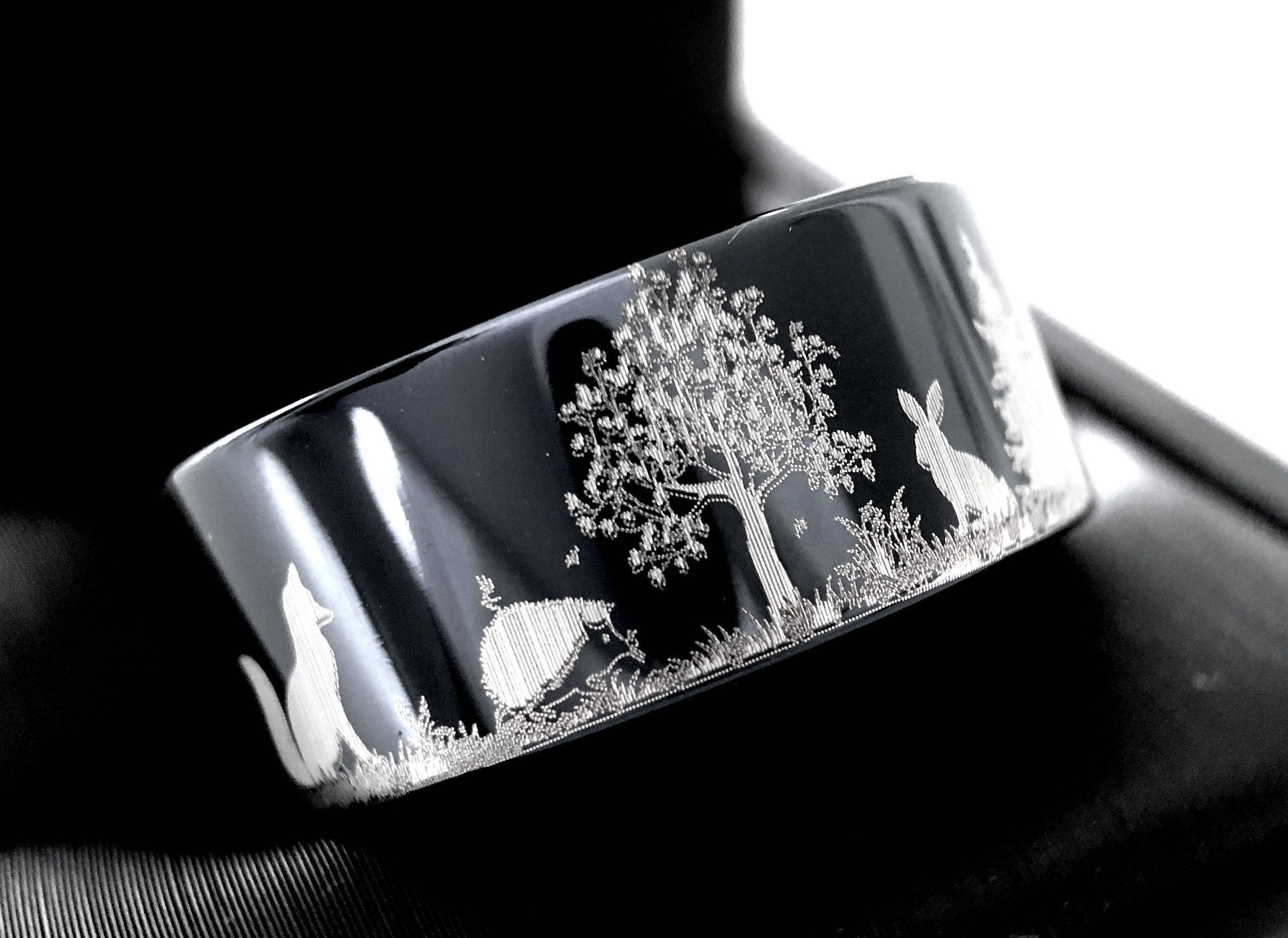 Hedgehog Hare Fox and Wolf in Forest Pattern Engraved Tungsten