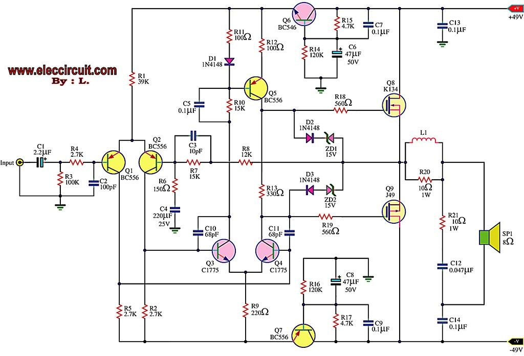 1500W Power Amplifier - Schematic Design Audio Pinterest - ics organizational chart