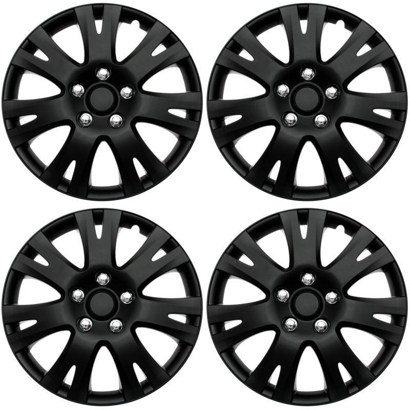 4 Pc Set Of 16 Matte Black Hub Caps For Oem Steel Wheel Cover
