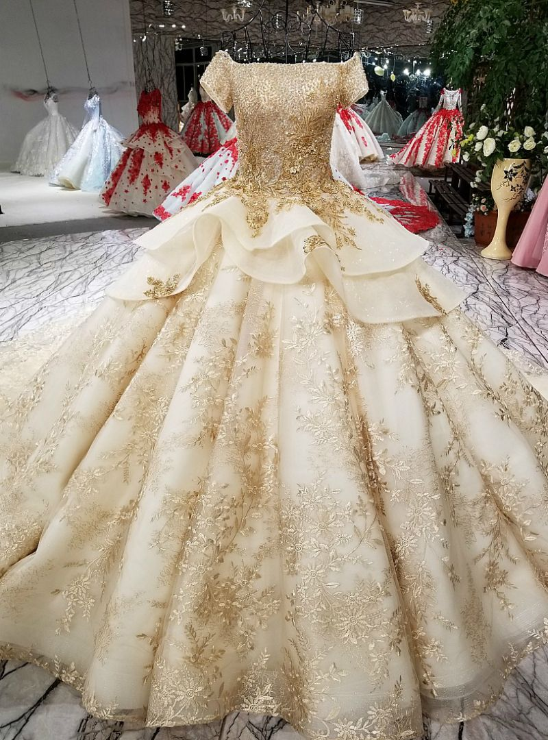 Wedding dresses with gold  Champagne Ball Gown Gold Lace Appliques With Beading Wedding Dress