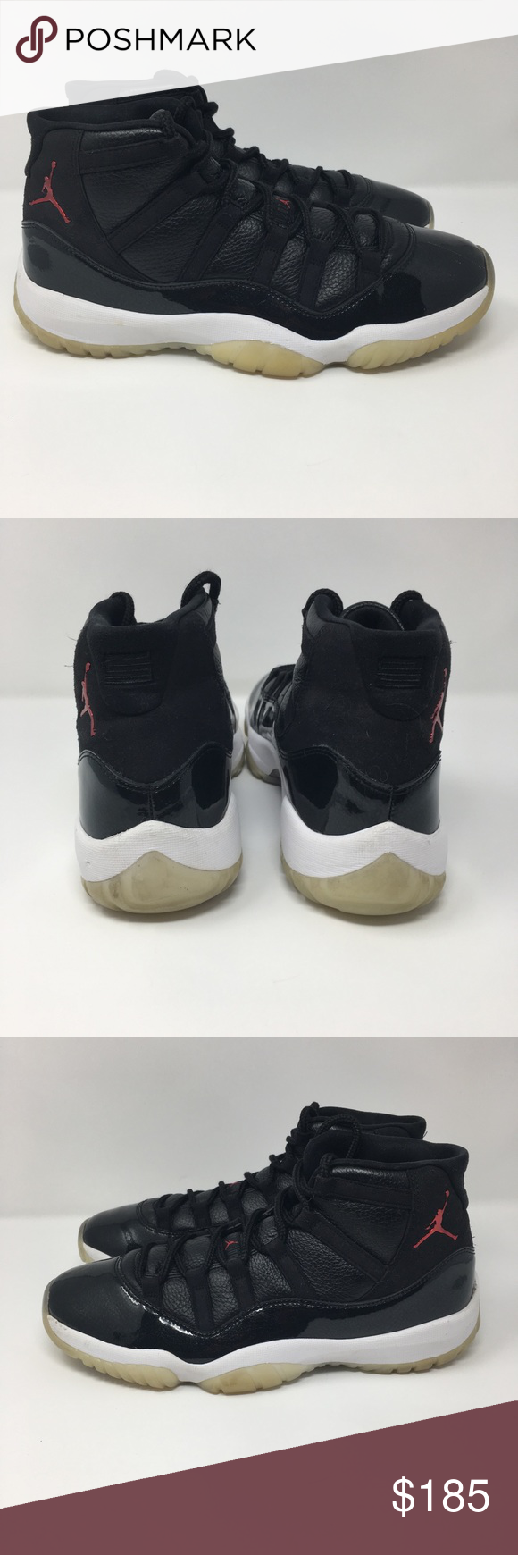 release date: 9dc23 a9f7b Nike Air Jordan XI 11 Retro 72-10 BLACK GYM RED Nike Air Jordan XI 11 Retro  72-10 BLACK GYM RED WHITE GREY BRED 378037-002 11.5 Preowned Scratch on  right ...