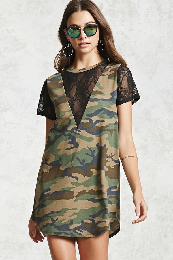 2e636e57a698 Forever 21 Lace Camo T-Shirt Dress | Products in 2019 | Camo t shirt ...