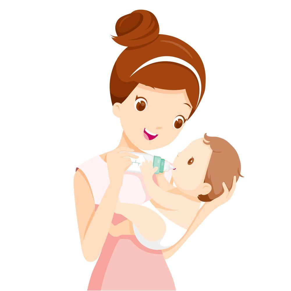Mother Feeding Baby Milk Bottle Mothers Baby Illustration Mother Feeding Baby Milk Bottle Baby