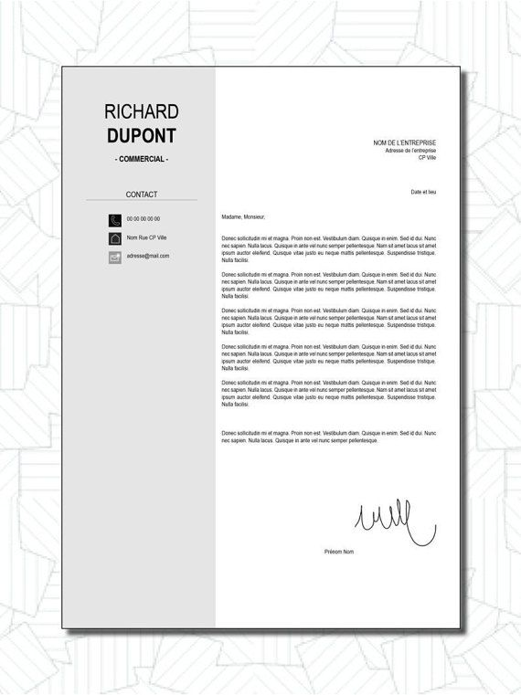 curriculum vitae cv lettre de motivation design par