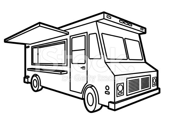 A Vector Illustration Of A Classic Food Truck With Side Door Open