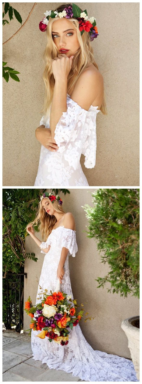Rustic lace wedding dress  White Off the Shoulder Bohemian Beach Wedding Dresses Boho Lace