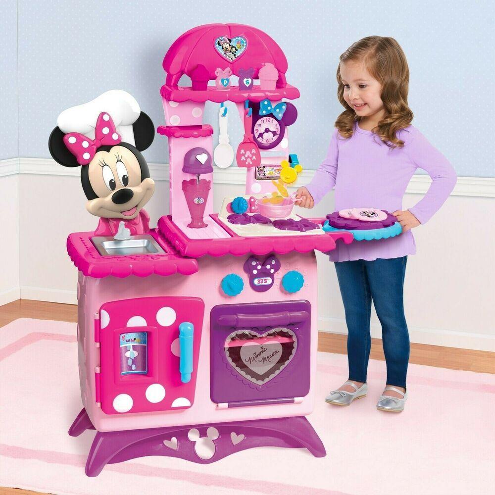 Minnie Mouse Kitchen Play Set Kids Girls Pretend Sounds Pink Play