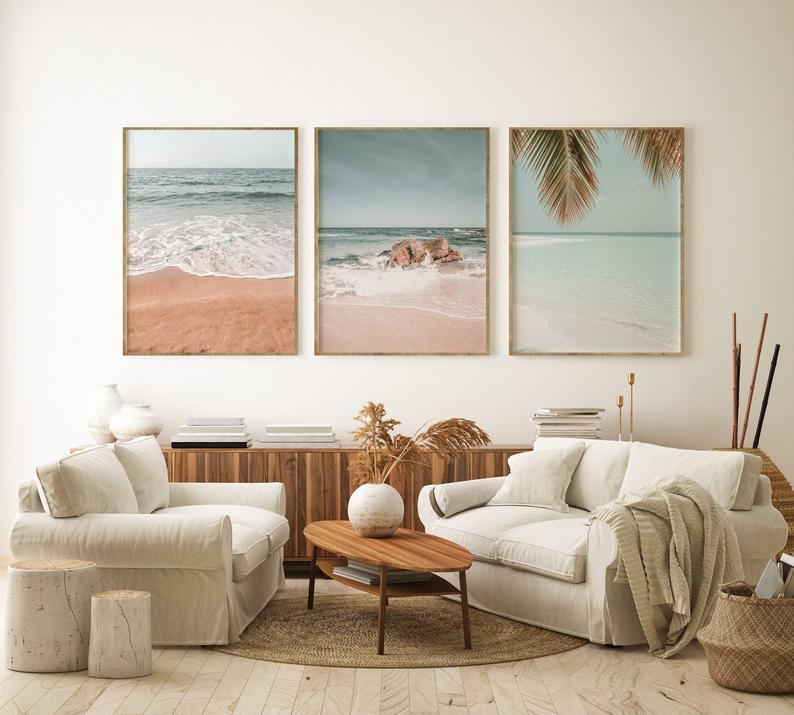 Tropical Beach Print Set Of 3 Palm Tree Ocean Digital Etsy In 2020 Coastal Apartment Decor Beach Living Room Modern Coastal Decor #palm #tree #in #living #room