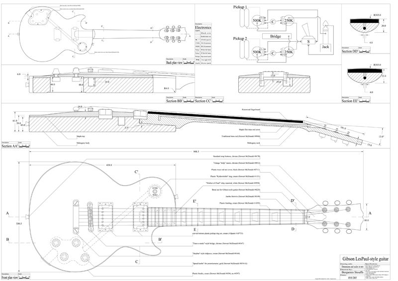 Les Paul Blueprint With Images Gibson Electric Guitar Les