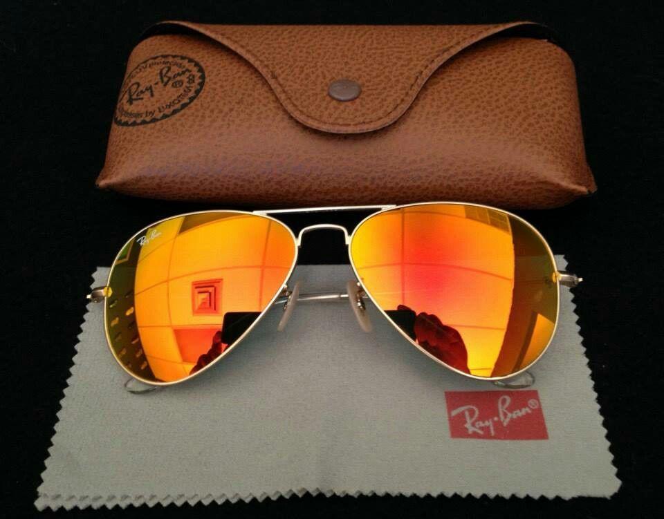 ray ban aviator sunglasses fire orange gold mirror
