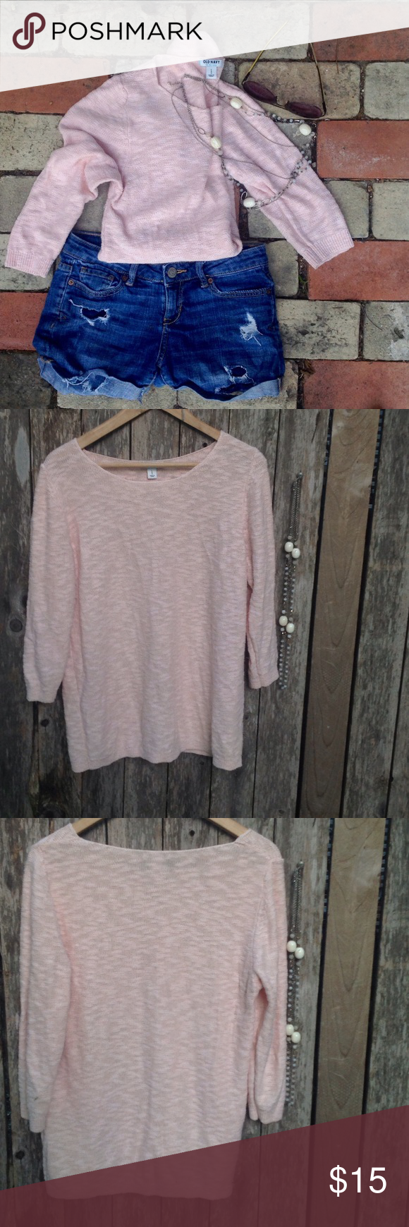Summer Blush Cable Knit Sweater Very good, pre-owned condition. Slight wear near seams. No pulls. Old Navy Sweaters Crew & Scoop Necks
