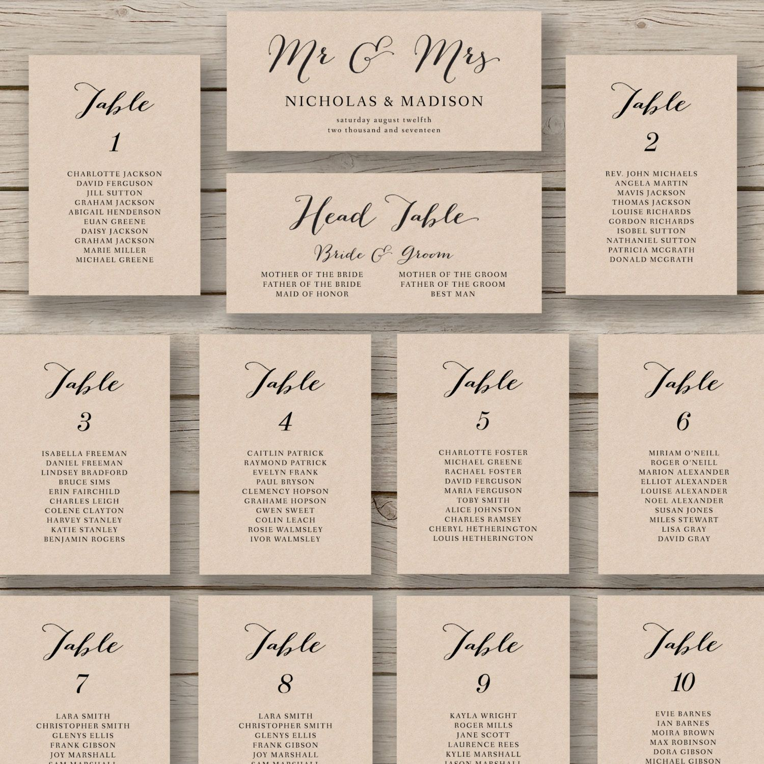 Printable Seating Chart For Wedding Reception: Wedding Seating Chart Template Printable By
