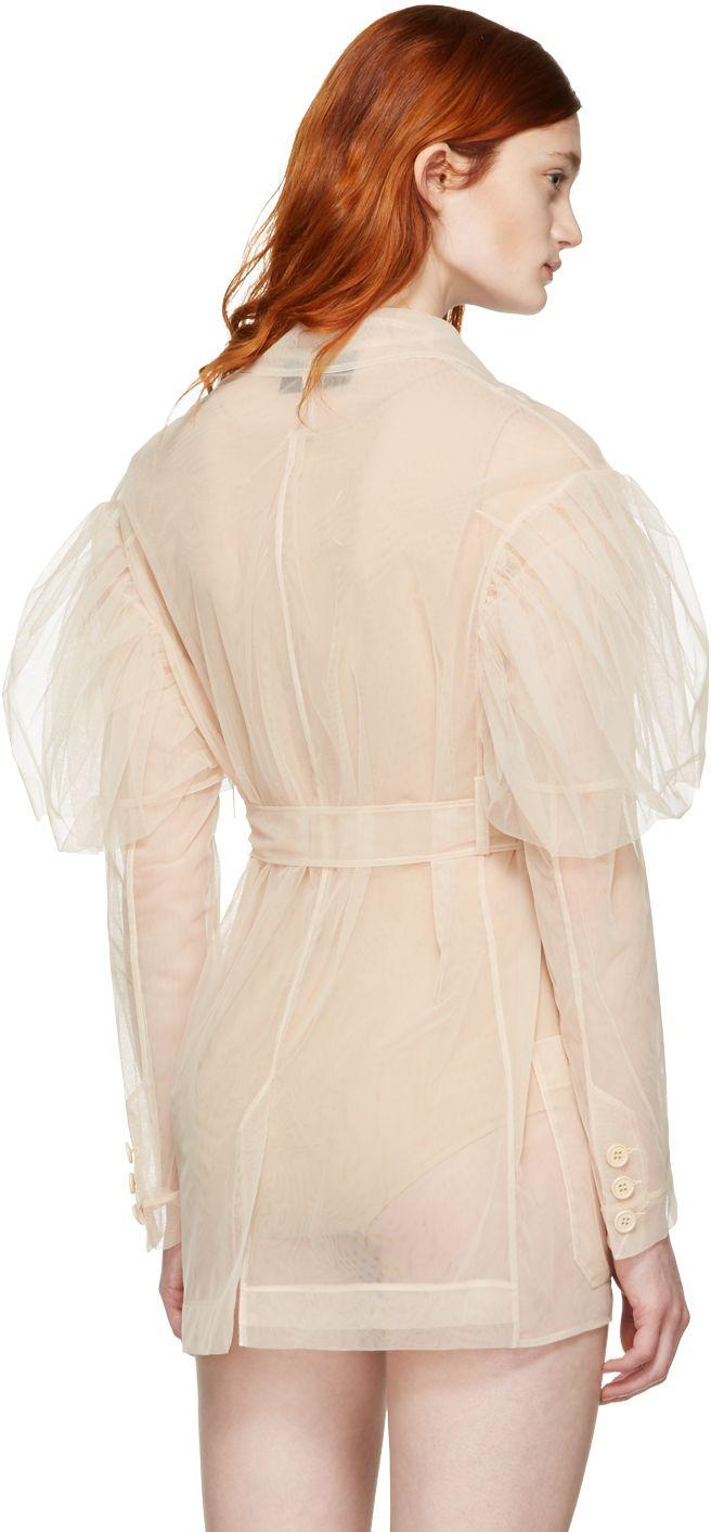8726f1121da1d Simone Rocha: Beige Tulle Belted Jacket | SSENSE | Outerwear ...