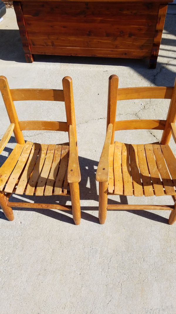 Used (normal wear) - Builtright Chair Company Statesville NC The original  double sag seat kids chair oak 2 chairs Sold at Yadkin Furniture Co  Yadkinville, ... - The Original Double Sag Seat Builtright Chair Co For Sale In Winston