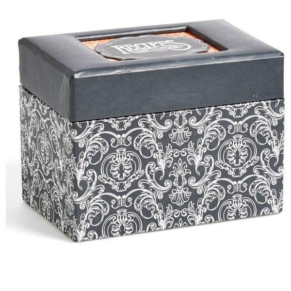 C.R. Gibson 'Savory Eats' Recipe File Box ($26) ❤ liked on Polyvore featuring home, kitchen & dining, cookbooks, recipe card, recipes cookbook, recipe tin, recipe box and recipe cards