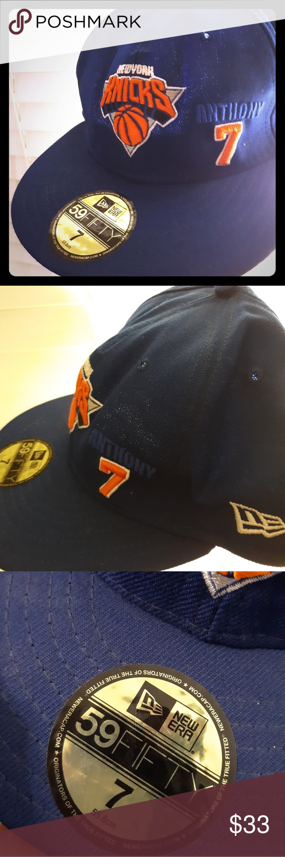 New York Knicks Blue Orange Carmelo Anthony NBA New Era 59Fifty Fitted Hat Cap