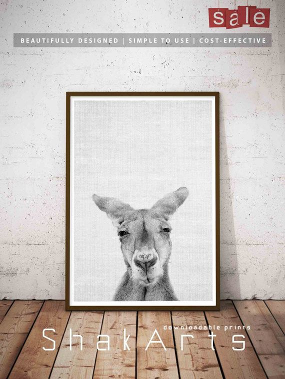 Kangaroo australia gray white wall art travelers gift gray white art print black white gray art white gray print art travel printable
