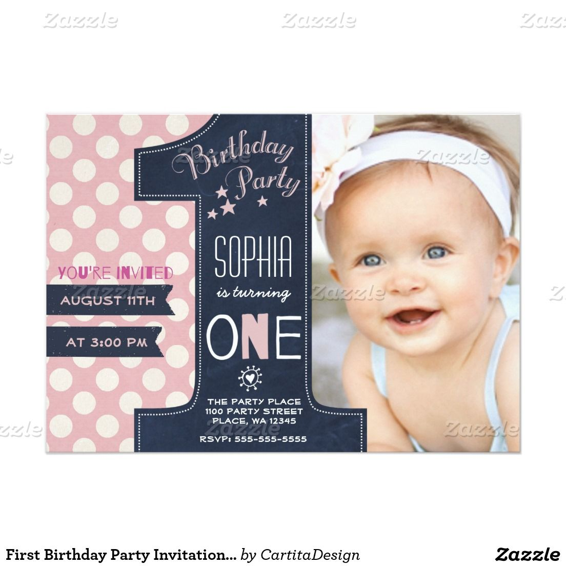 Modern Black Chalkboard Pink Dot First Birthday Invitation Zazzle Com In 2021 Baby Birthday Invitations 1st Birthday Party Invitations Boy Birthday Invitations