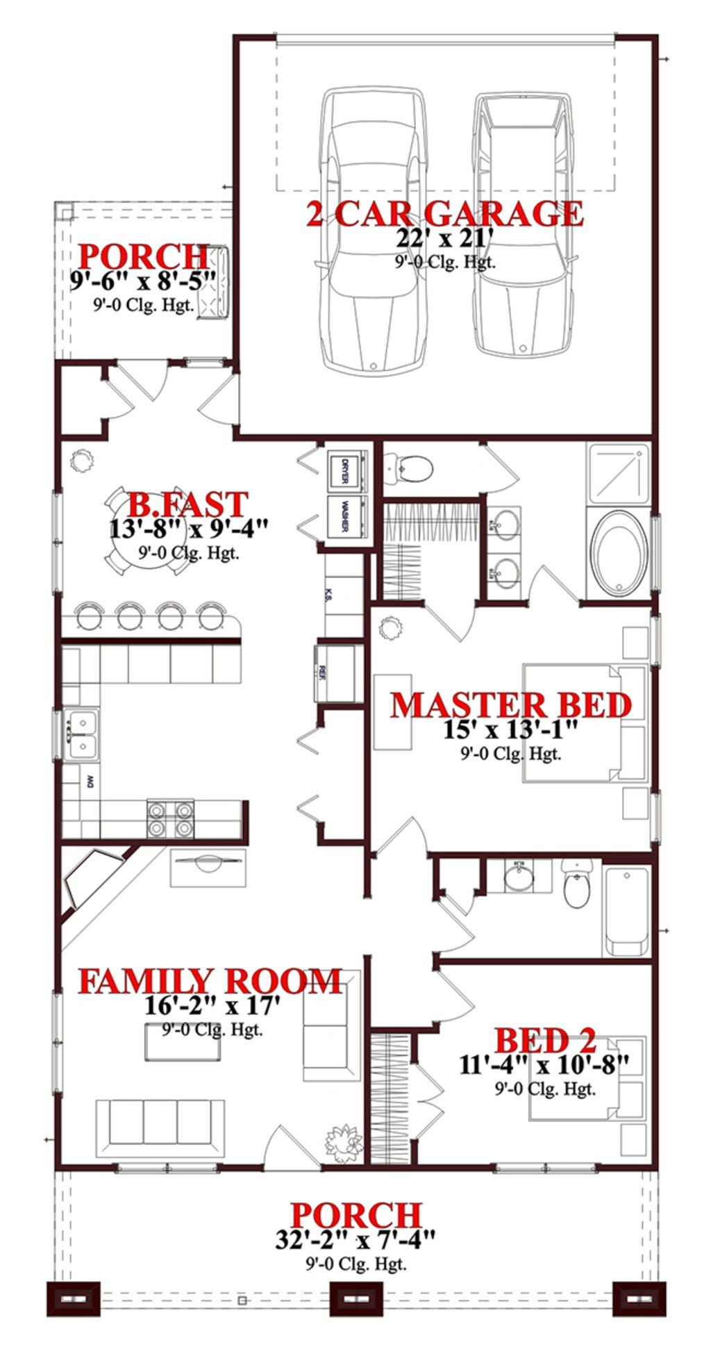Bungalow Style House Plan 2 Beds 2 Baths 1302 Sq Ft Plan