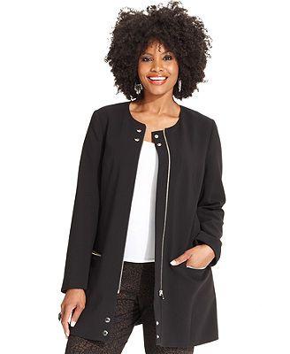 Alfani Plus Size Jacket, Zip-Front