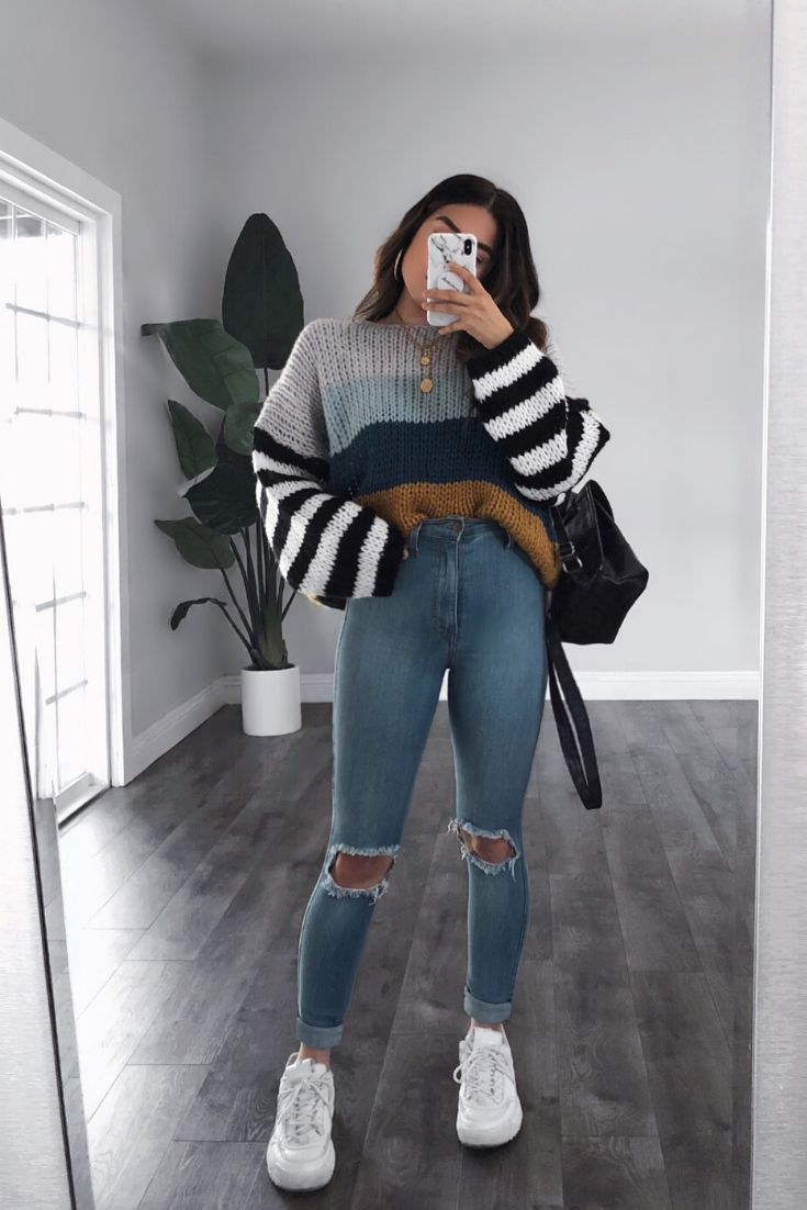 Holland Blue Colorblock Oversize Knit Sweater in 2020 | Winter fashion outfits, Trendy outfits, Fash