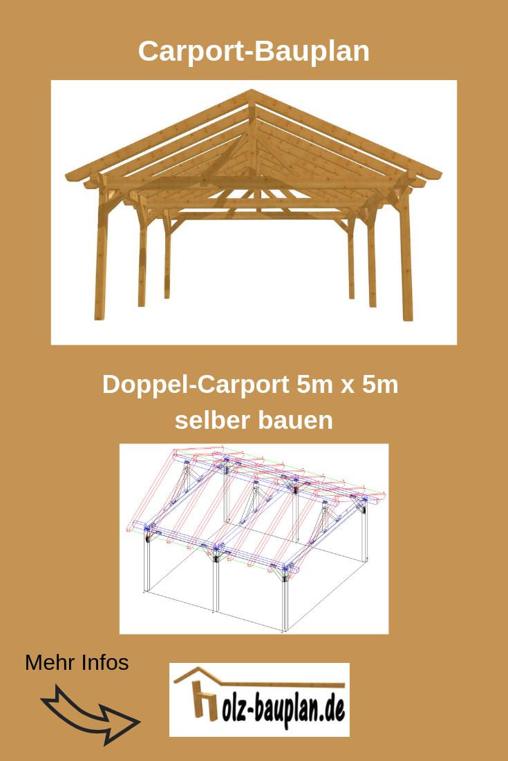 Doppelcarport Selber Bauen 5m X 5m Technische Zeichnung Carport Carport Carport Selber Bauen Doppelcarport
