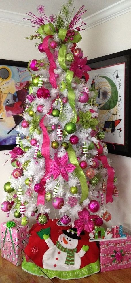 Pink & Colorful Christmas ,white tree with hot pink and green ... |Christmas  Tree Decor - Pink & Colorful Christmas ,white Tree With Hot Pink And Green