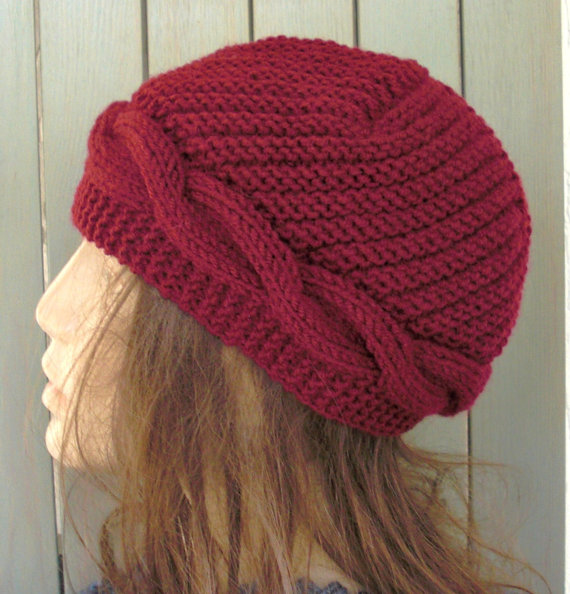Hand Knit  hat Cable knit hat Womens Hat    Cloche  Wool