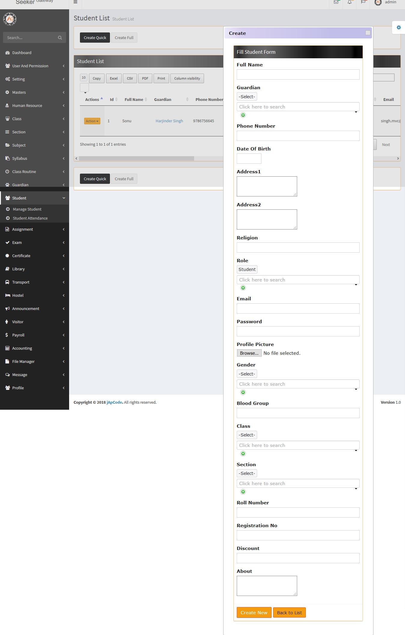 School Management System (Seeker Gateway) Open Source Full ERP MVC 5