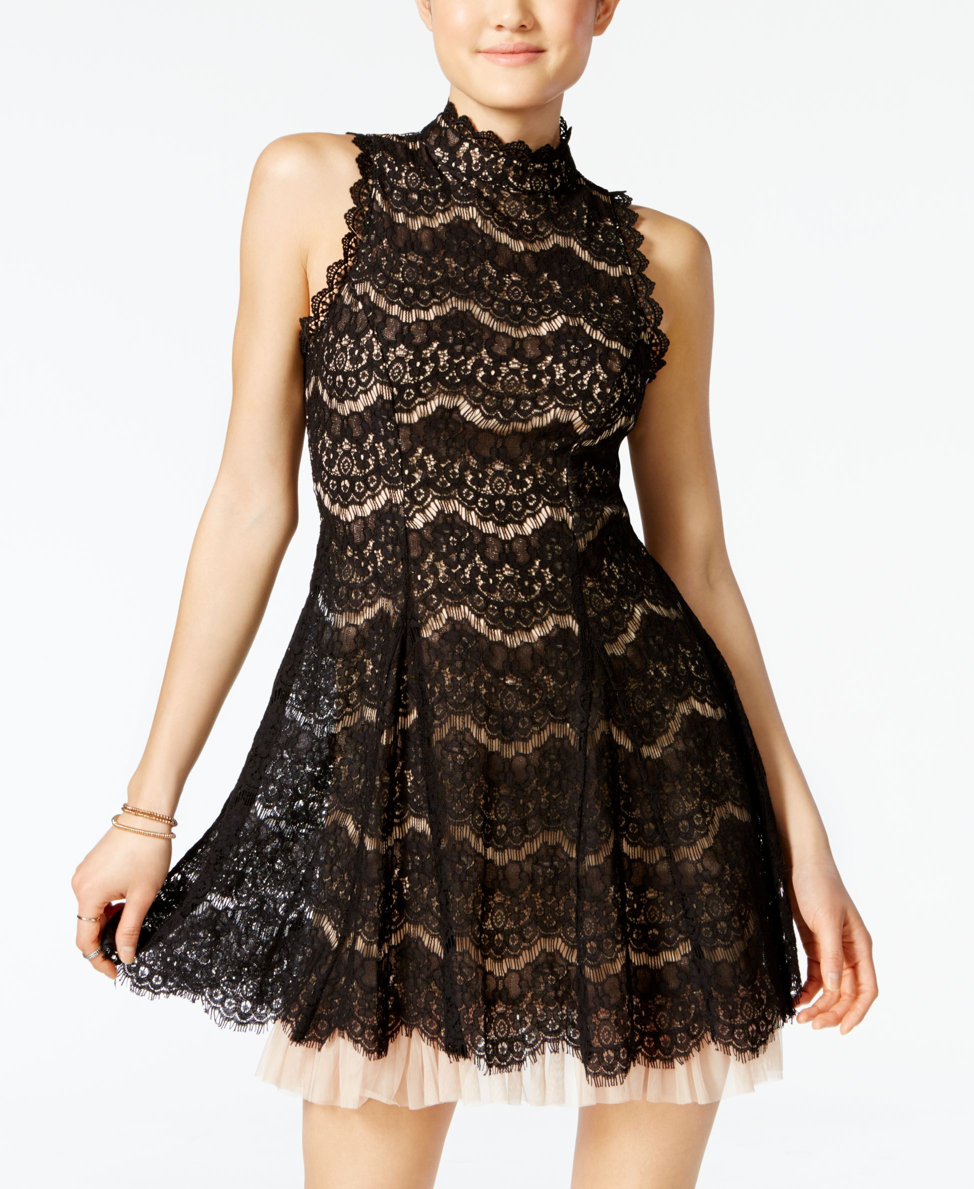 85f284db3 Trixxi Juniors' Lace Tulle Fit & Flare Dress | Products in 2019 ...