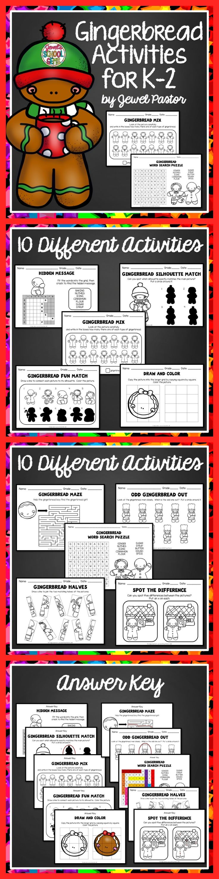 Gingerbread Activities For K To 2 This 20 Page Packet Is Composed Of Ex Gingerbread Activities Gingerbread Man Activities Kindergarten Gingerbread Worksheets [ 2944 x 736 Pixel ]