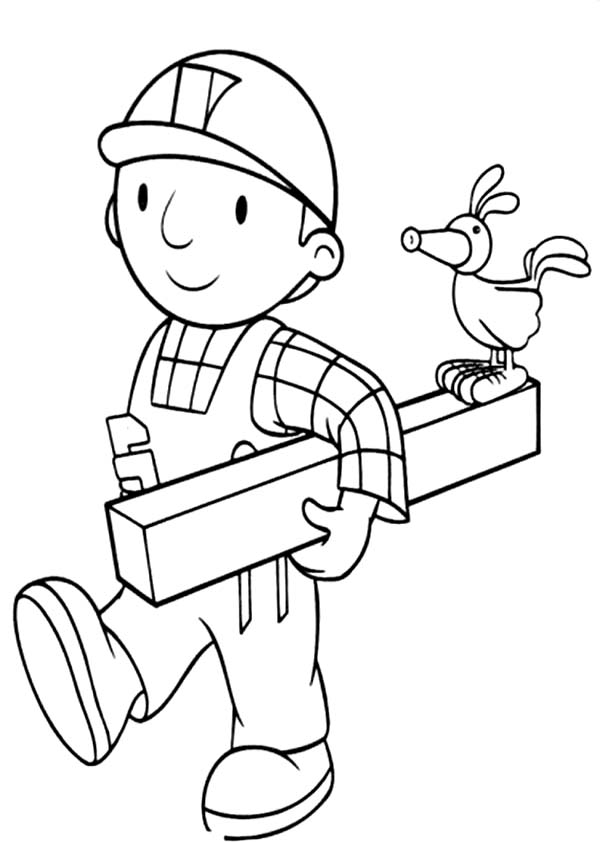 Bob The Builder Is Holding A Wood Coloring Page Coloring Sun Coloring Pages Bob The Builder Coloring For Kids