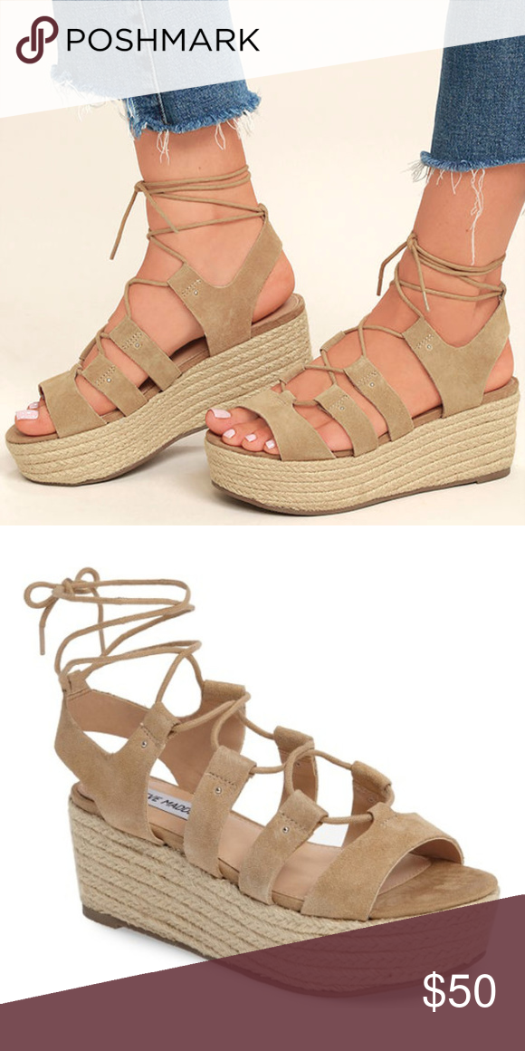 13435dc47e4f4 STEVE MADDEN The Steve Madden Brayla Sand Suede Leather Espadrille Wedges!  A strappy genuine suede