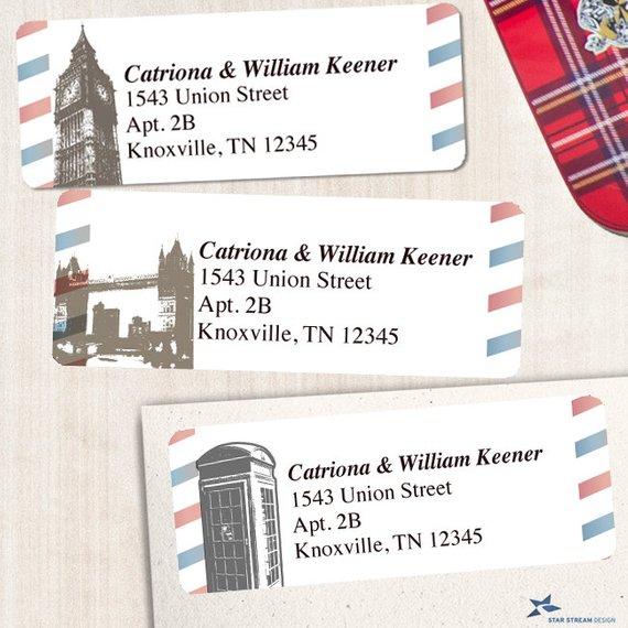 Printable Vintage British London Airmail Address Labels