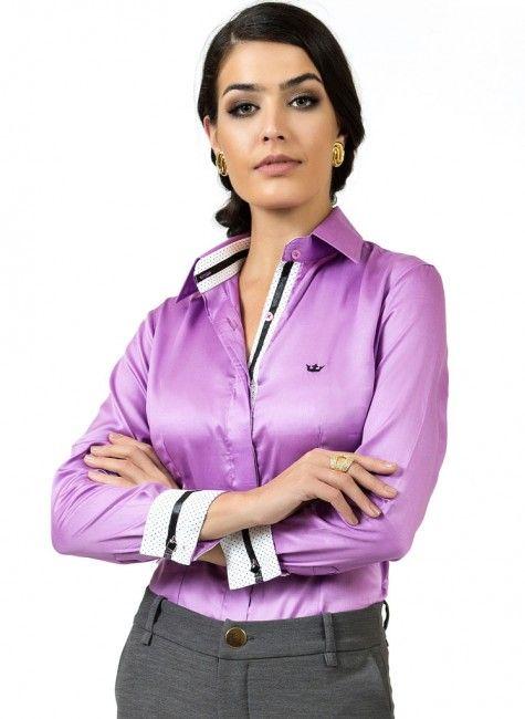 bb7dd2b8ae0f9 camisa fio egipcio acetinado premium principessa glaucia look Camisa Roxa  Feminina